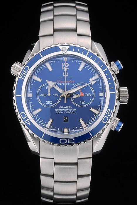 Pas Cher Replique Omega Seamaster Planet Ocean Blue Tachymeter Blue Dial Stainless Steel Strap 80239