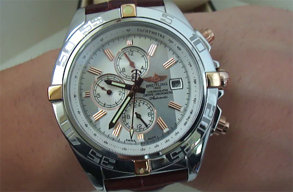 Breitling Chronomat deux tons rose replique de montre en or