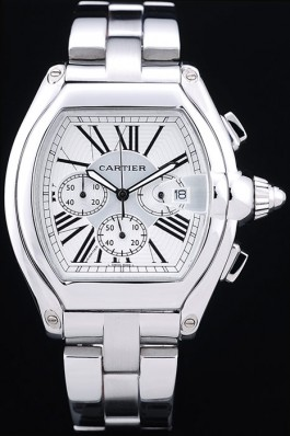 Replique Cartier Roadster S Montre chronographe automatique avec cadran blanc