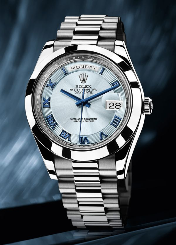 Rolex Day-Date cadran bleu inoxydable Steal copie montre