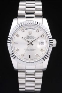 Rolex Day-Date inoxydable Steal cadran blanc Diamonds replique montre